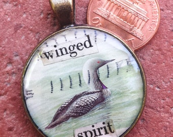 Winged Spirit Postage Stamp Collage Necklace