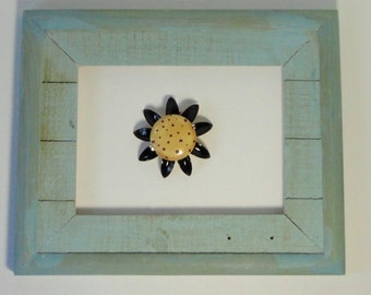 Vintage Metal Enameled Flower Power Brooch. Black and Browns.