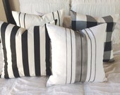 Grainsack  Black and White Stripe and Buffalo Check  Pillow Set of Four   Geometrical, dramatic, farmhouse / Coastal / Industrial