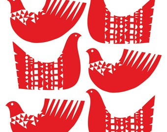 Bird Shapes in Red - Open Edition Giclee Print