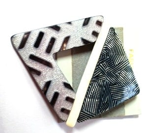 Abstract Brooch Lucite Gray White Black Vintage Pin