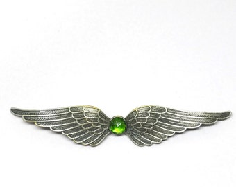 ART DECO Wings Brooch Spectacular Green Stone Vintage 1920s Pin