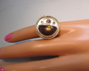 Fire Agate Ring Sterling silver with 14 K Gold Trim Size 6