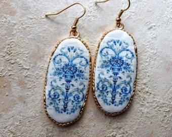 Portugal  Blue AntiqueTile Replica Earrings from Viuva Lamego Factory, Lisbon - Founded in 1849  Majolica Porcelain Ceramic