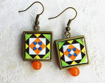Earrings Tile Portugal Antique Azulejo FRAMED from Belem, Lisboa  (see photo of facade) Waterproof and Reversible -Green Orange Yellow 229