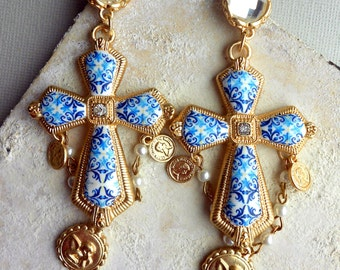 Portugal Antique Azulejo Tile Replica Blue CROSS Earrings - Church of Mercy PoRTO 1590 Majolica Baroque - Featured in GRAZIA Indonesia