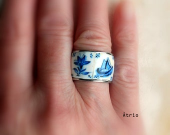 Portugal Antique Azulejo Tile Replica STAINLESS STeEL Ring  - 1837 Delft Blue US size 6, UK size M, 17mm