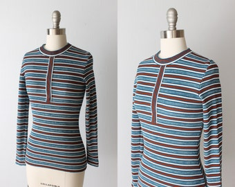 Vintage 1970s Striped Henley Ribbed Knit Top / 70s Skin Tight Henley Top / Zippered Pull Over