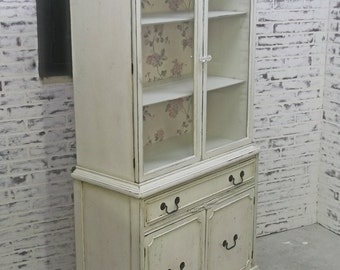 China Cabinet, Weathered White Cottage Style - CB801 Shabby Farmhouse Chic, Chest, Nursery Furniture