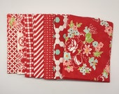 SUMMER SALE - 1/2 Yard Bundle (7) - Handmade in Red - Bonnie and Camille for Moda Fabrics