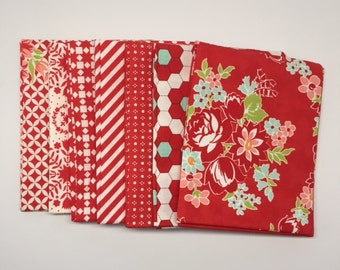SALE - 1/2 Yard Bundle (7) - Handmade in Red - Bonnie and Camille for Moda Fabrics