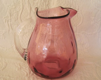 Vintage Cranberry Glass Pitcher Hand Blown Ribbed Clear Handle