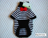 Hand Knit Dog Sweater, Full Length Pet Sweater, Size XSMALL, Whimsy Black and White Red Bow Tie