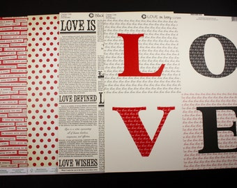 LOVE - 12 x 12 Scrapbooking Paper - 4 Sheets - Canvas Corp - Cosmo Cricket - Valentines Day