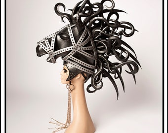 SALE TODAY Bondage Pony…. Black Horse Headdress with Pony Bit