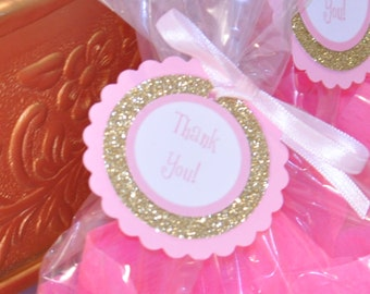 Gold and Pink Favor Tags, Gold and Pink Party Favors, Gold Glitter Favor Tags, Gold Favor Tags, Gold and Pink Party Favors, Party Supplies