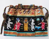 KNITTING BAG APRON - Made To Order - Paw Prints of Egypt Cats M. Hordyszynski for Michael Miller Rare Fabric - Allow 3 weeks for delivery