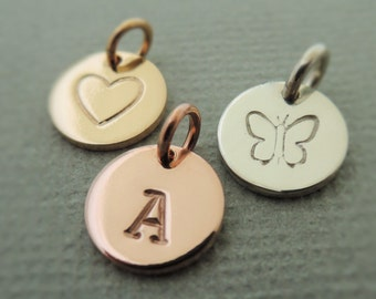 tiny initial disc choose rose gold filled, yellow gold filled or sterling silver mini Monogram Pendant
