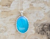 Butterfly Wing Jewelry Blue Morpho Pendant Necklace