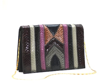 Vintage 70s Snakeskin Geometric & Colorful Clutch