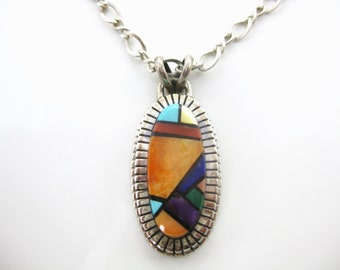 "Vintage Ray Jack Navajo Multi Color Stone Pendant W/ 22"" Sterling Necklace"