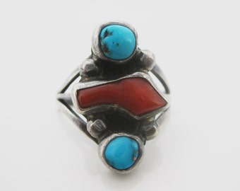 Size 7.5 Vintage Turquoise Red Coral Sterling Silver Ring