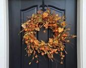 Autumn Chinese Lantern Wreath, Fall Wreath, Chinese Lanterns, Orange Lanterns, Fall Orange Lantern Wreath, Artificial Fall Wreaths