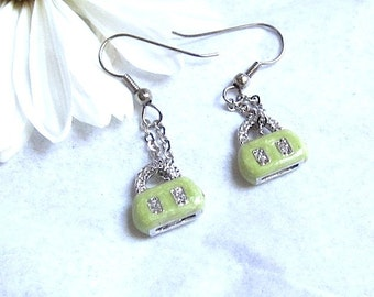 Green Purse Earrings