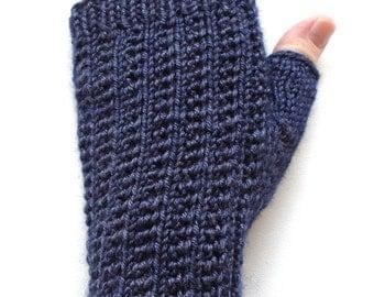 Handknit Fingerless Gloves for Women, Teen Girls, Texting Gloves, Hand Warmers, supple rib pattern, wool and silk blend, deep blue gloves