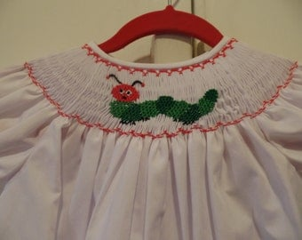 Hungry Caterpillar hand smocked bishop dress size 6 mos