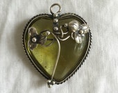 Sweet Sterling and Amber Pale Yellow Green Pendant