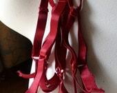2 DEEP RED Bra Straps in Satin Stretch for Lingerie, Costume Design, Retro Dressing