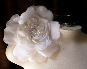 SALE White Silk Millinery Flower for Bridal, Hats, Couture, Corsages, Bouquets MF 134