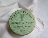"""French Powder Box Poudre """"Topaze"""" Remet a Neuf Green and Gold Paper Box"""