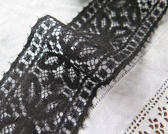 """Antique Cotton Lace in Black Butterfly Motif 94"""" x 3-3/8"""" Wide"""