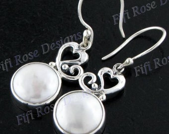 "11/16"" Biwa Pearl 925 Sterling Silver Earrings"