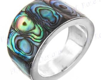 Paua Abalone Shell 925 Sterling Silver Band Us 8 Ring