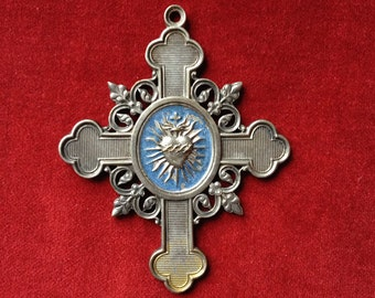 Amazing antique fench 19th century sacred heart / flaming heart cross