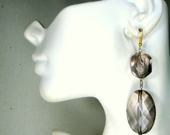 Lucite Dangle Earrings, 2016, OOAK Smokey Quartz Color Big Beaded Dangles On Wire, Ecochic Recycled