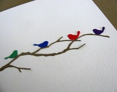Tiny Birds on Delicate Branch. 3D Card on Watercolour Paper as Shown or You CHOOSE Colours for Birds. A2 Size. Made to Order
