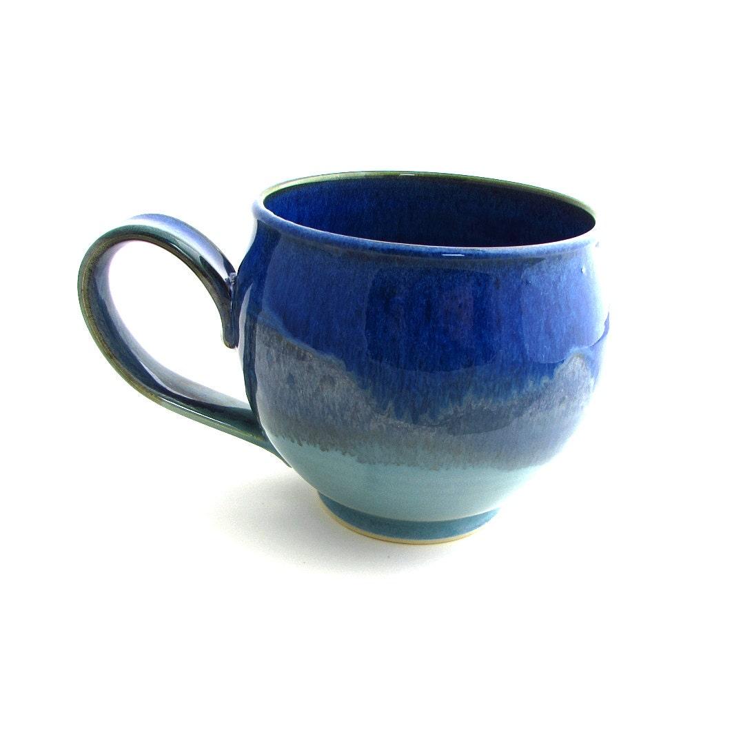 Large Handmade Pottery Latte Mug In Green Mountain Skyline