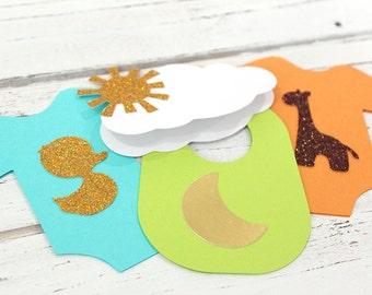 Baby onesie garland - (Unisex) - wishes for baby banner, advice cards, onesie paper garland