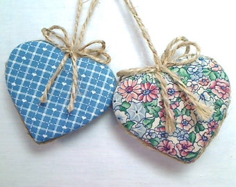 Blue Heart Ornaments | Home Decor | Primitive Folk Art | Birthday  | Wedding/Bridal  | Party Favor | Valentine's Day Decor | Set/2 | #1