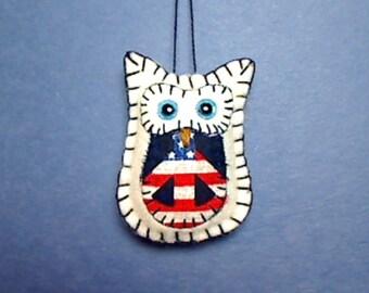 Miniature Felt Owl Ornament   Holidays   Americana Mini Owl   Primitive Folk Art   July 4th   Tree Ornament   Handmade   Patriotic   #3