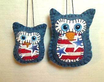 Americana Owl Ornament Set | Owl Decor | Folk Art | Red White Blue | Tree Ornament | Patriotic | Handmade | July 4th | Independence Day | #2