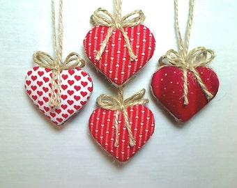 Miniature Red Heart Ornaments | Valentine's Day | Holidays | Party Favor | Birthday | Tree Ornament | Handmade Ornament | Wedding Set/4 | #2