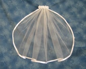Reserved for Sharon Shimmery White First Communion Veil with on Clip Barrette and White Satin Ribbon Edge  17 Inches Long 50473