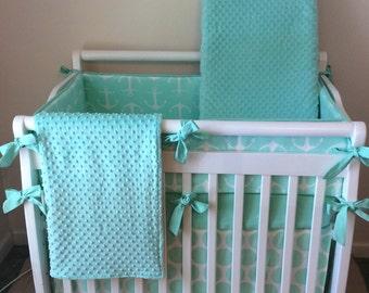 Mini Crib Bedding Set Mint and White Anchors