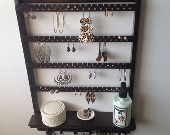 "Jewelry Organizer Shelf Holder, ""Choose The Stain"", Jewelry Holder, Elegant Earring Organizer, Necklace Rack, Oak Wood Wall Mount"