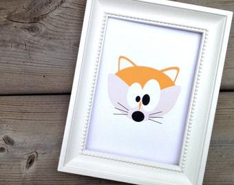 Orange Fox Print, Childrens Art Print, Kids Wall Art Animal, Nursery Decor, Forest Animal Poster, Woodland Nursery Art